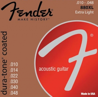 Fender 880XL 80/20 Dura-Tone Coated Acoustic Strings, 10-48