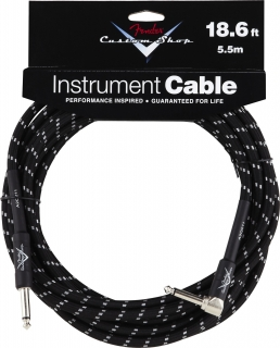 Fender Accessories 18.6' Custom Shop Guitar Cable (18.6' Str-Ang) Black