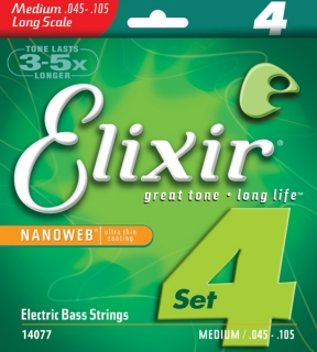 "Elixir 14077 Bass Nickel plated steel 45""/105"" Light/Medium, Long Scale NANOWEB"