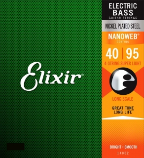 "Elixir 14002 Bass Stainless Steel 40""/95"" Super Light, Long Scale NANOWEB"