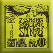 ERNIE BALL 2621 7-string Regular Slinky Nickel Wound .010 - .056 Lime Green pack