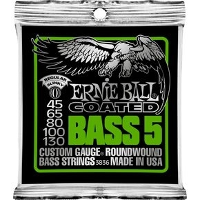 ERNIE BALL 3836 Coated Bass Strings - Regular 5-String Bass Strings .045 - .130